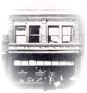 Early 1900s photo of Jeune Bros. store front